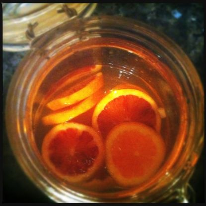 Blood oranges in vodka