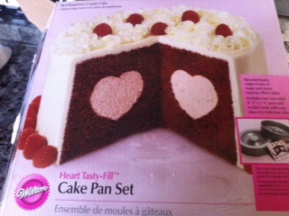 heart cake on box
